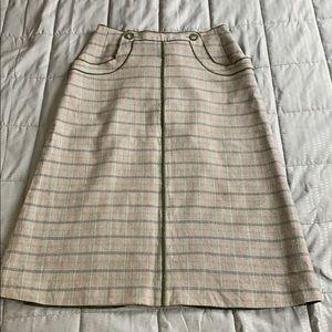 1ad4b42798b6 Harvey Bernard Plaid Midi Wool Pencil Skirt Sz 8